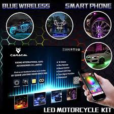 blue tooth control rgb led motorcycle wheel accent lighting rim glow 20pods