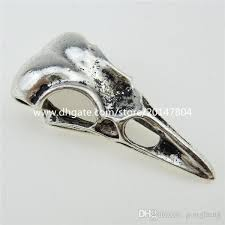 12991 10pcs alloy eagle mouth skeleton bird crow amulet raven skull pendant