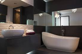 brown bathroom color ideas. Black Wood Vanity And Walls Are Highlighted With White Sink Bath Tub Accented By Brown Bathroom Color Ideas B