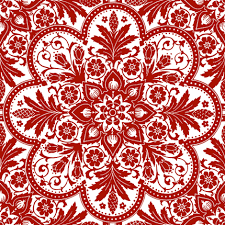 Bourgogne Tile ~ Adrianople Turkey Red and White fabric by  peacoquettedesigns on Spoonflower - custom fabric