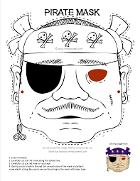Pirate Mask Coloring Page Printout More