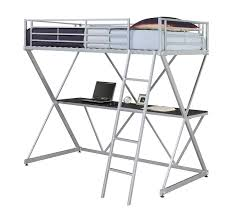 metal bunk bed with desk.  Bunk Amazoncom DHP XLoft Metal Bunk Bed Frame With Desk  Silver Space  Saving Design Kitchen U0026 Dining For With