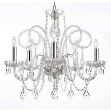 empress crystal 5 light crystal plug in chandelier with chrome sleeves