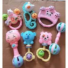 Bộ đồ chơi lúc lắc 7 món cho bé yêu - phát ra âm thanh cho trẻ sơ sinh và  trẻ nhỏ ngộ nghĩnh ,quà tặng cho bé tốt giá rẻ