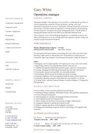 Operations Resume Template Best Of Operations Manager CV Sample