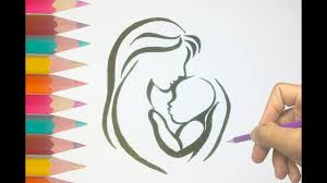 How To Draw A Mother Hugging A Baby Mother And Baby Drawing Hd