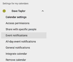 google calendar settings options