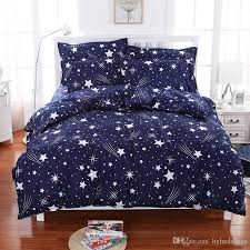 Meteor Shower Stars Blue Bedding Set Soft Polyester Duvet Cover ... & Wholesale Price Black White Bedding Set Mr And Mrs Duvet Covers USA Queen  Size 3PCS Beddings Adamdwight.com