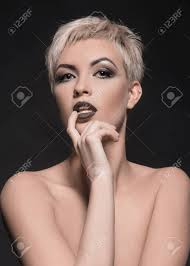 Beautiful Woman With Make Up And Short Hair Naked Sexy Girl Stock Photo Picture And Royalty Free Image Image