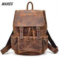 vintage men s genuine leather backpack for laptop cowhide school bag for teenagers women crazy horse leather rucksack men bag