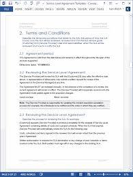 help desk service level agreement template service level agreement template download 2 ms word 3 free excel