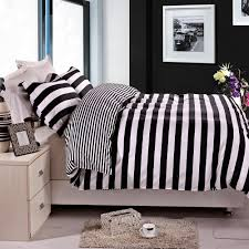image of good style black and white striped comforter