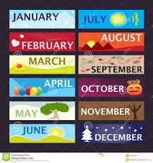12 month months of the year banner set stock illustration illustration of