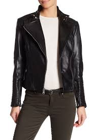 image of vince camuto stand collar asymmetrical moto leather jacket