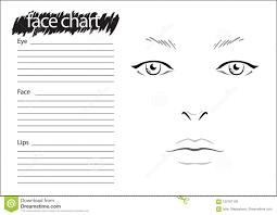 Face Chart Makeup Artist Blank Template Stock Illustration