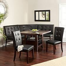 leather breakfast nook furniture. Espresso 6-Piece Breakfast Nook Set Wood And Faux Leather Chairs Benches Wine Bottle Holders Furniture R
