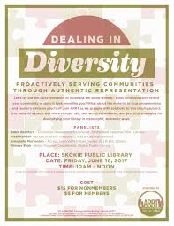 join us at the skokie public library on friday june 16 from 10 a m to noon for dealing in diversity proactively serving communities through authentic
