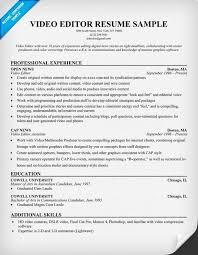 Video Editor Resume Sample Resume Letters Job Application