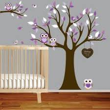 Marvelous Purple Small Owl Themed Baby Nursery On Tree Wall Decal Wooden  Classic Crib