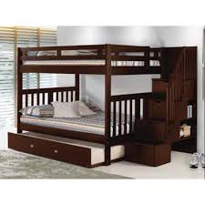 Donco Kids Full Over Full Mission Storage Stairway Bunk Bed in