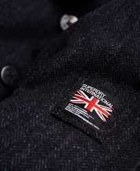 superdry men jackets rookie pea coat charcoal herringbone