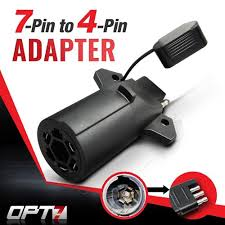 7 way round to 4 way flat pin adapter for trailer tow hitch image 1