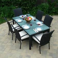 fabulous patio furniture dining set with black and white armchairs design also trendy gl top table idea