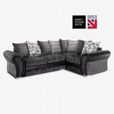 Sofas Center : Arvika Black Grey Chenille Fabric L Shaped Sofa within L  Shaped Fabric Sofas