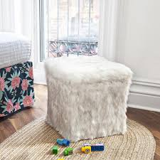 faux fur storage ottoman. Faux Fur Storage Ottoman In White Fox With