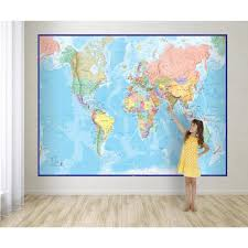 waypoint geographic giant world wall map mural blue