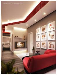Nice Decor In Living Room Amazing Red Living Room Decor With Nice Led Ceiling Lighting