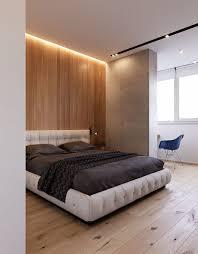 Main Bedroom Master Bedroom Bedside Table Hardwood Floor Wooden Wall Panel Grey