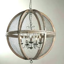 white washed wood chandelier beaded rustic round medium size sphere