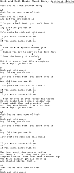 Love Song Lyrics For:rock And Roll Music-Chuck Berry With Chords.
