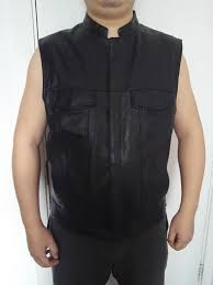 bonjean men s leather biker vests motorcycle club vest sheepskin leather sleeveless jacket men punk waistcoat