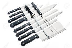 Ensemble De Couteaux De Cuisine Professionnelle Isolé Sur Fond Blanc