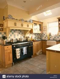 Country Kitchen Floors Black Range Oven In Country Kitchen Extension With Tiled Floor And
