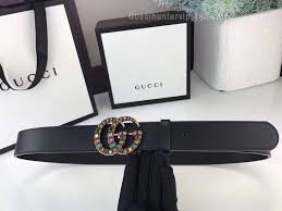 gg black leather belt with crystal double g buckle 30mm
