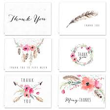 Thank you card images Canva Amazoncom Boho Spirit Thank You Card Assortment Pack Set Of 36 Cards Blank Inside Designs Blank Inside With White Envelopes Office Products Amazoncom Amazoncom Boho Spirit Thank You Card Assortment Pack Set Of 36