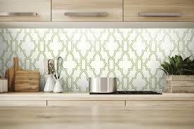 NextWall Green and White Tile Trellis ...