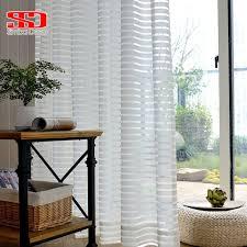 Moderne Gestreiften Tüll Vorhänge Für Wohnzimmer Weiß Voile Kurz