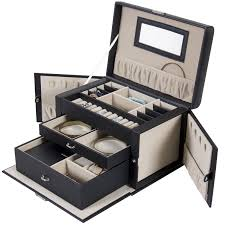 Best Choice Products Leather Jewelry Box And Organizer Watch Travel Case  And Key