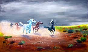 running ahead of the storm limited edition canvas wild horses by ray mark