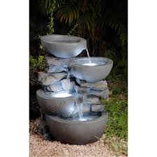 weatherproof this fountain features white led light that make it very attractive at night water flows from the top bowls to the bottom bowl