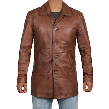 winchester men s brown leather coat