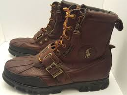 polo ralph lauren mens andres iii mid boot sz 12 brown leather 812527240001 for