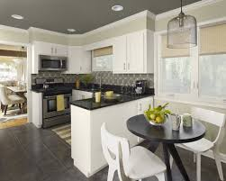 Wall Color For White Kitchen Fascinating White Kitchen Cabinets Set With Grey Wall Colors
