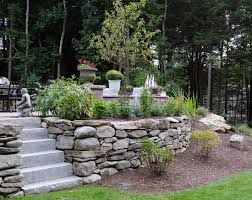 natural stone wall with granite steps
