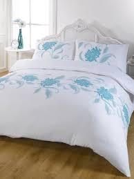 exquisite teal blue white modern fl single duvet quilt cover bedding set co