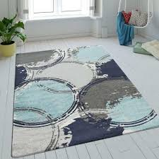 details about modern geometric rug circles grey blue turquoise carpet abstract room mat runner